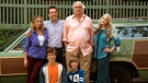 Christina Applegate, standing from left, Ed Helms, Chevy Chase, Beverly D'Angelo, and Skyler Gisondo, kneeling left, and Steele Stebbins appear in a scene from 'Vacation.' (Hopper Stone/Warner Bros. Entertainment)