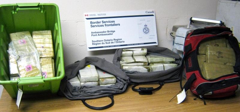 Canadian border officers seized about 52 kilograms of cocaine at the Ambassador Bridge. (Courtesy CBSA)
