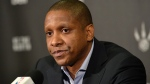 Toronto Raptors' president and GM Masai Ujiri speaks at a season-ending news conference in Toronto on Tuesday, April 28, 2015. (Nathan Denette / THE CANADIAN PRESS)