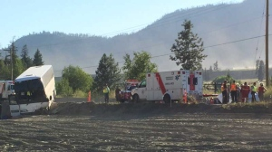 Emergency crews respond to a bus crash that left 60 people injured in B.C.'s Shuswap region. July 31, 2015. (CTV)