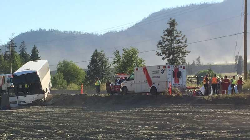 Emergency crews respond to a bus crash that left 60 people injured in B.C.'s Shuswap region. July 31, 2015. (CTV)
