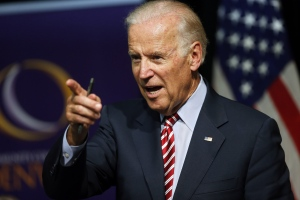 In this July 21, 2015, file photo, U.S Vice-President Joe Biden speaks during a roundtable discussion at the Advanced Manufacturing Center at Community College of Denver. (AP / Brennan Linsley)