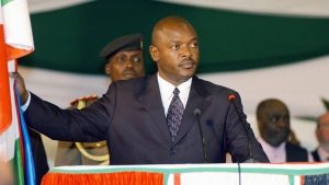 In this Aug. 26 2005 file photo, Burundi's president, Pierre Nkurunziza stands as he takes the presidential oath in parliament in the capital, Bujumbura, Burundi. (AP/Riccardo Gangale, File)