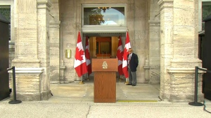 The scene from Rideau Hall before Stephen Harper arrived to speak with Governor General on Sunday, Aug. 2, 2015.
