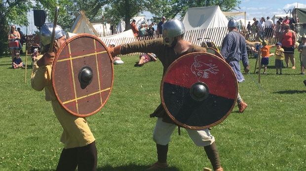 Every day at 3 p.m., there is a battle where the Vinland Vikings fight with swords and other weapons. (File image)