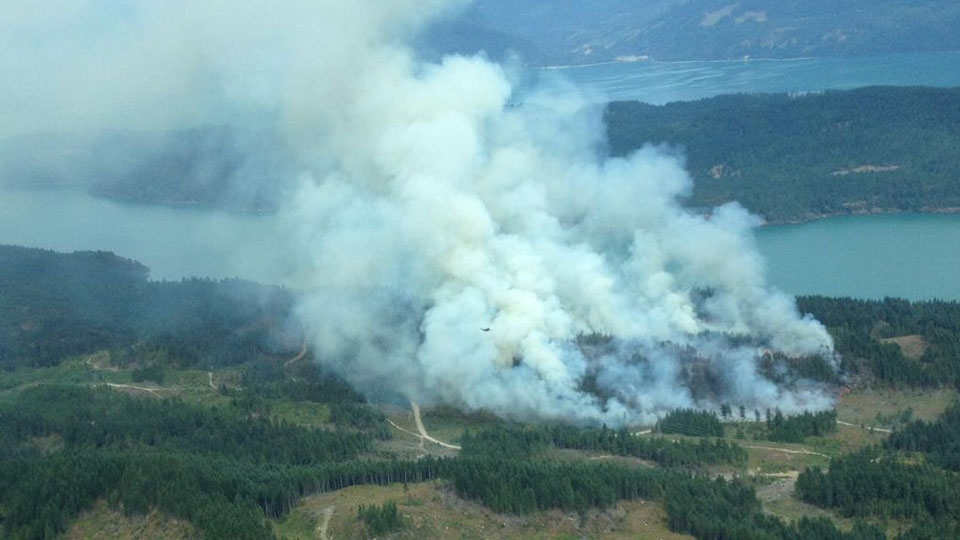 A human-caused wildfire is burning near Harrison Lake, forcing campers out of the area. (Twitter/@BCGovFireInfo)