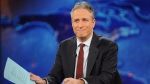 """Television host Jon Stewart during a taping of """"The Daily Show with Jon Stewart"""" in New York. Stewart will sign off for good on Aug. 6. (AP / Brad Barket)"""