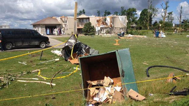 An image of a significantly damaged home in Teviotdale, Ont. Environment Canada has confirmed the occurrence of a second tornado in Dufferin County this past weekend. (Nadia Matos/CTV Kitchener)