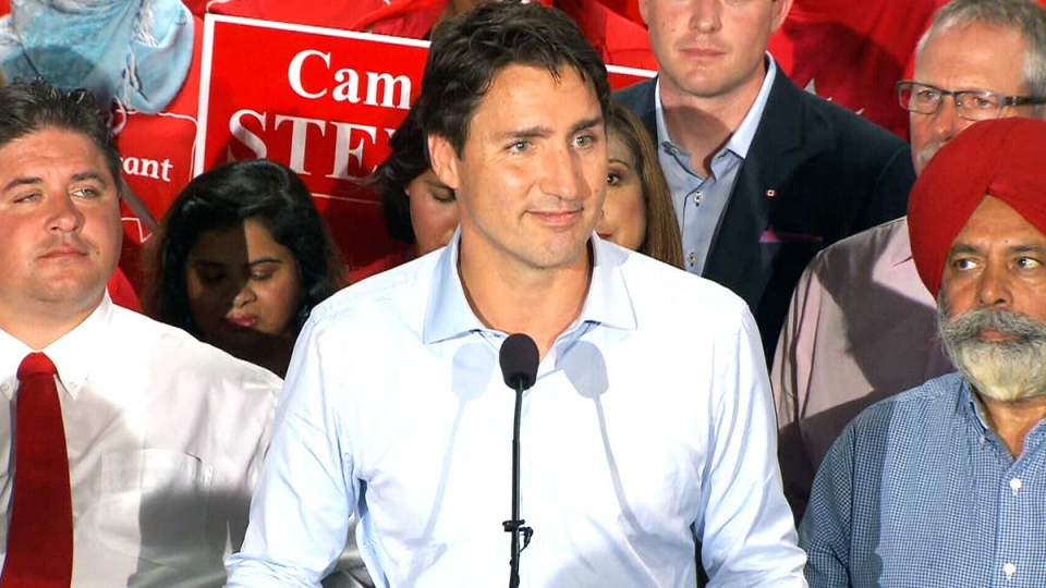 Liberal Leader Justin Trudeau speaks at a campaign event in Calgary, Monday, Aug. 3, 2015.