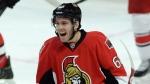 Ottawa Senators' Mike Hoffman celebrates his second period goal against the Carolina Hurricanes during NHL hockey action in Ottawa on Monday, Feb 16, 2015. (Sean Kilpatrick / THE CANADIAN PRESS)