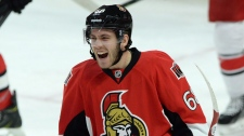 Ottawa Senators' Mike Hoffman celebrates his second period goal against the Carolina Hurricanes during NHL hockey action in Ottawa on Monday, Feb 16, 2015. (Sean Kilpatrick / THE CANADIAN PRESS)
