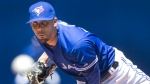 Toronto Blue Jays starting pitcher David Price throws against the Minnesota Twins during the first inning of a baseball game in Toronto on Monday, Aug. 3, 2015. (Fred Thornhill / THE CANADIAN PRESS)