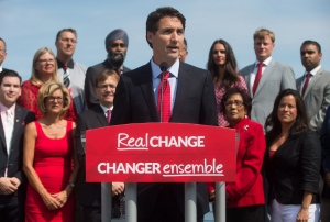 Liberal Leader Justin Trudeau speaks during his election campaign launch in Vancouver, B.C., on Sunday August 2, 2015. THE CANADIAN PRESS/Darryl Dyck