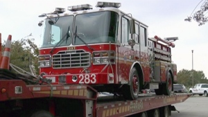 "The fire truck ""Spirit of Louisiana,"" funded by Ronnie Goldman and featured in Suzanne Bernier's book, ""Disaster Heroes."""