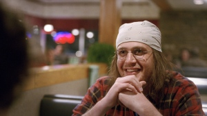 In this image released by A24 Films, Jason Segel appears in a scene from the film, 'The End of the Tour.' It's one of many summer movies offering a nuanced take on mental health. (A24 Films via AP)
