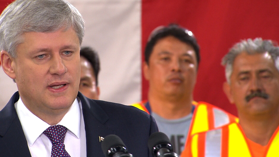 Conservative Leader Stephen Harper makes a campaign announcement in the North York section of Toronto, Tuesday, Aug. 4, 2015.