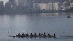 Italian rowers practice on Rodrigo de Freitas lake in Rio de Janeiro, Brazil, on Tuesday, Aug. 4, 2015. (AP Photo/Silvia Izquierdo)