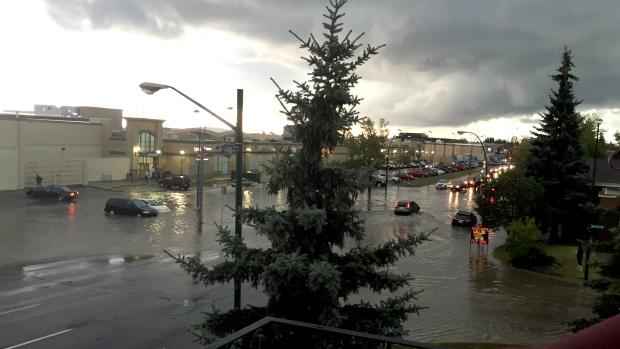 Flooding after a storm in Calgary, Tuesday, Aug. 4, 2015. (MyNews / Alyssa Besenyodi)