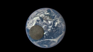 A NASA camera aboard the Deep Space Climate Observatory captured a unique view of the Moon on July 16 as it passed between the spacecraft and Earth and released on Aug. 5, 2015. (NASA / NOAA)