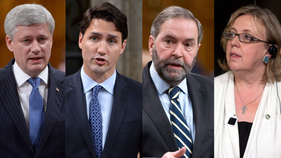 Conservative Leader Stephen Harper, Liberal Leader Justin Trudeau, NDP Leader Tom Mulcair and Green Party Leader Elizabeth May are pictured in this composite image.