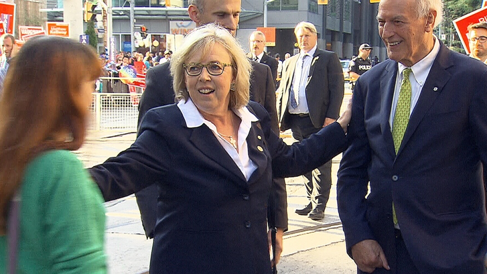 Green Party Leader Elizabeth May arrives in Toronto for the first federal leaders' debate, Thursday, Aug. 6, 2015.