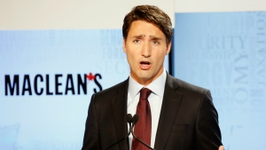 Liberal leader Justin Trudeau makes a point during the first leaders debate in Toronto on Aug. 6, 2015. (Frank Gunn / THE CANADIAN PRESS)