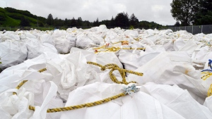 Bags of debris gathered off the coast are shown in Kodiak, Alaska, July 15 , 2015. (Candice Bressler/ Alaska Department of Environmental Conservation)