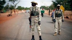 Malian soldiers man a checkpoint outside Sevare, Mali on Sunday, Jan. 27, 2013. (AP / Jerome Delay)