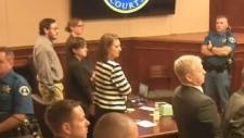 Defendant James Holmes, top left in tan shirt