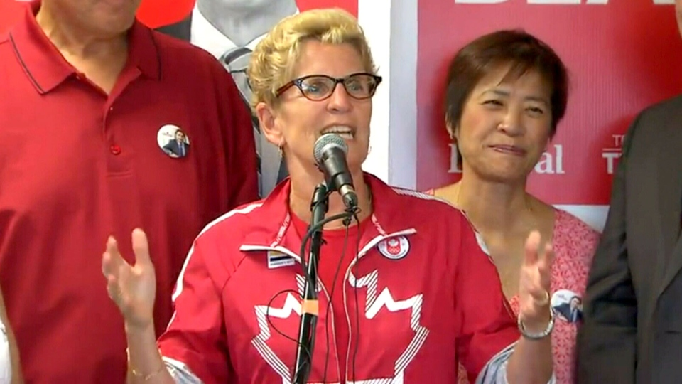 Ontario Premier Kathleen Wynne speaks at a campaign event in the riding of Scarborough Southwest, Aug. 8, 2015.