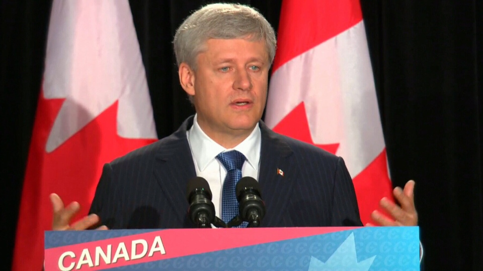 Conservative Leader Stephen Harper speaks during a campaign event in Ottawa, Sunday, Aug. 9, 2015.