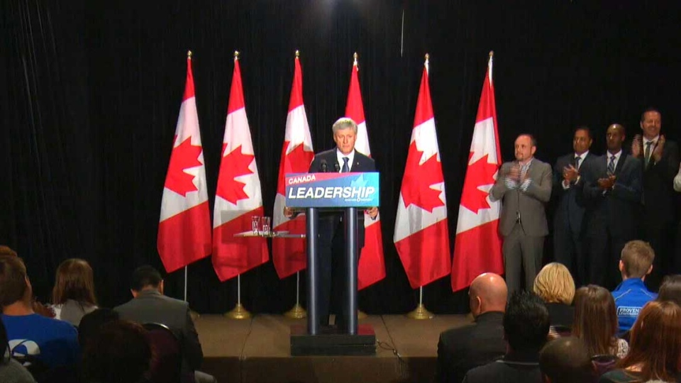 Stephen Harper makes policy announcement at campaign appearance in Ottawa Sunday Aug. 9 2015