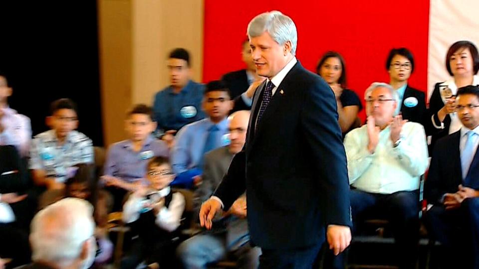 Conservative Leader Stephen Harper in Toronto, Monday, Aug. 10, 2015.