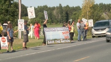 Protest against turbines outside Nation town hall.