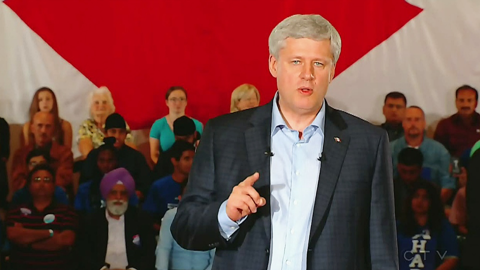 Stephen Harper campaigning in Brampton, Ont. on Aug. 10, 2015.