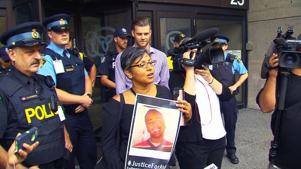 Protesters advocating for an inquest into the death of Abdurahman Ibrahim Hassan are seen in Toronto on Aug. 10, 2015. (CTV)