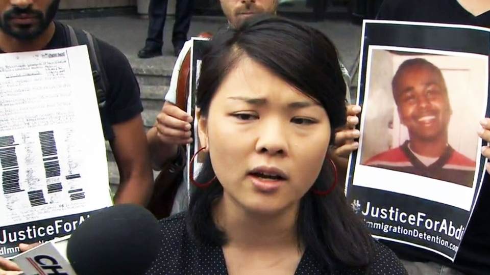 Tings Chak, a member of the End Immigration Detention Network, is seen in Toronto on Aug. 10, 2015. (CTV)