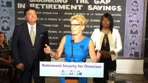 Ontario Premier Kathleen Wynne speaks at a news conference in Toronto on Tuesday, Aug. 11, 2015. (George Stamou / CTV Toronto)