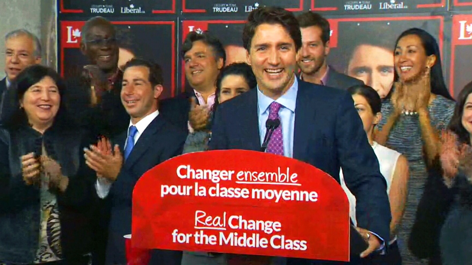 Liberal Leader Justin Trudeau speaks at  a campaign office in Papineau, Quebec on Tuesday, Aug. 11, 2015.