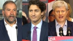 NDP Leader Thomas Mulcair, Liberal Leader Justin Trudeau and Conservative Leader Stephen Harper are pictured.