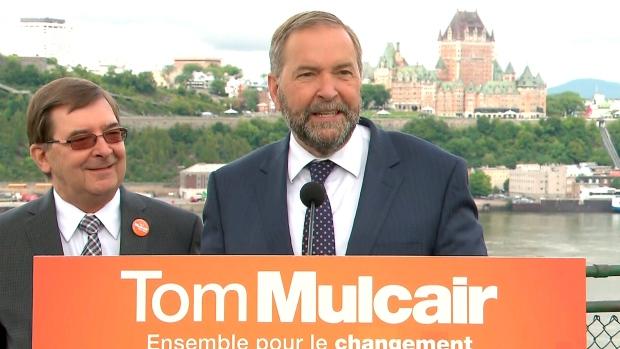 Mulcair campaigns in Quebec