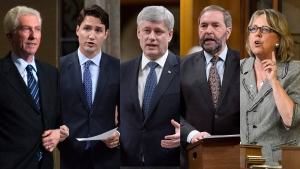 Bloc Quebecois Leader Gilles Duceppe, Liberals Leader Justin Trudeau, Conservative Leader Stephen Harper, NDP Leader Tom Mulcair and Green Party Leader Elizabeth May appear in this combination photo. (THE CANADIAN PRESS)