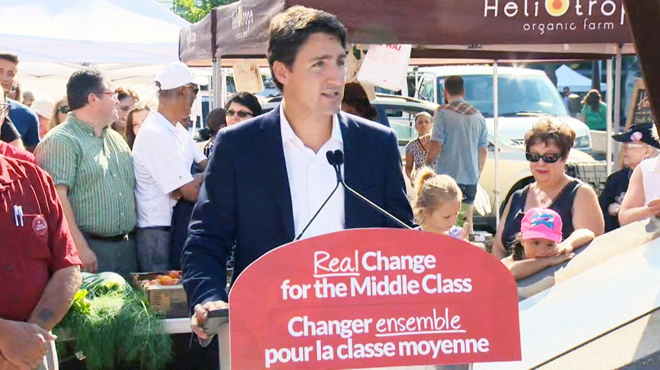 Liberal Leader Justin Trudeau speaks at an event at a farmer's market in Regina on Wednesday, Aug. 12, 2015.