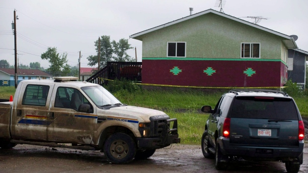 Cars outside home inSamson Cree Nation