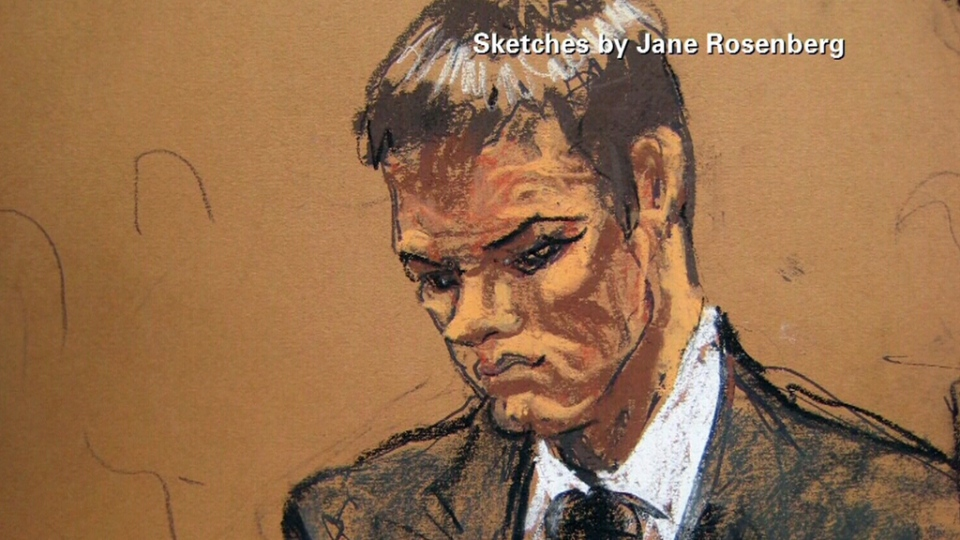 New England Patriots quarterback Tom Brady depicted in this court sketch, Wednesday, Aug. 12, 2015. (Jane Rosenberg)