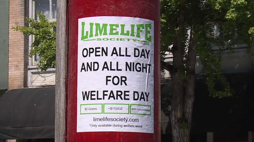 Limelife Society in East Vancouver generated controversy earlier in 2015 after advertising the shop is open all night long on Welfare day. (CTV)