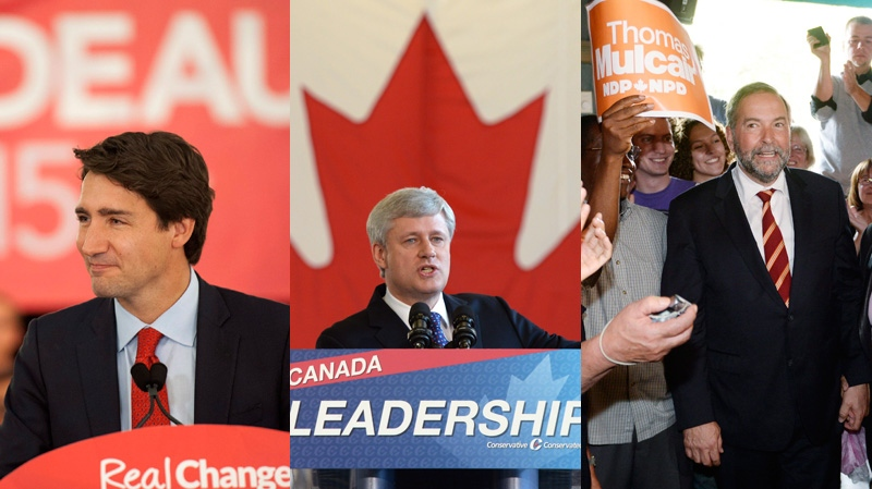 Trudeau, Harper and Mulcair on election trail