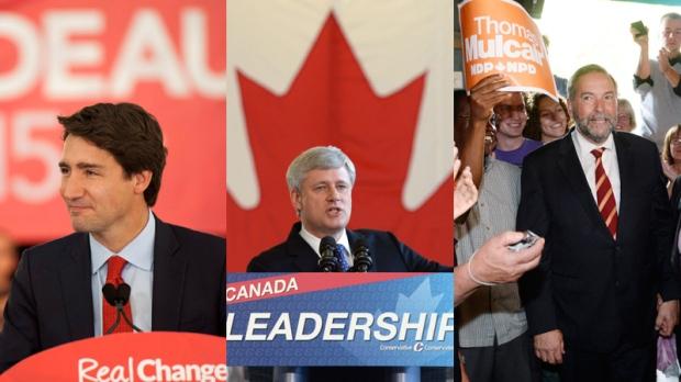 Trudeau, Harper and Mulcair on election trail