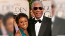 Morgan Freeman with his step-granddaughter Edena Hines at the 62nd annual Golden Globe Awards in Beverly Hills, California, on Sunday, Jan. 16, 2005. (AP / Kevork Djansezian)