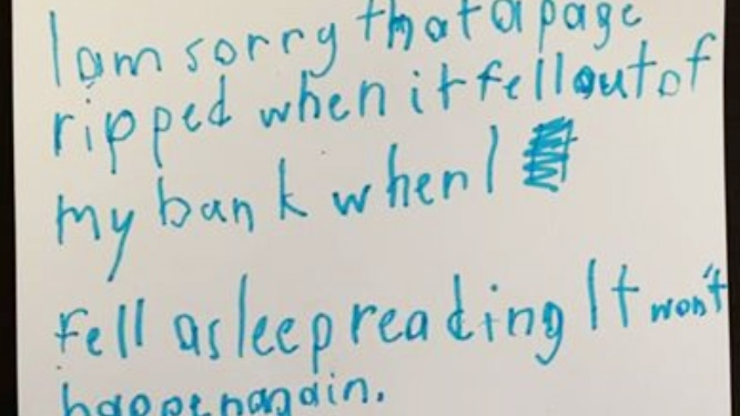 Apology note for ripped book